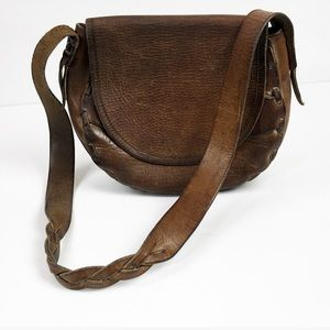 Vintage 70s Brown Leather Tooled Crossbody Bag